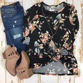 Annabelle Floral Side Knot Top in Black