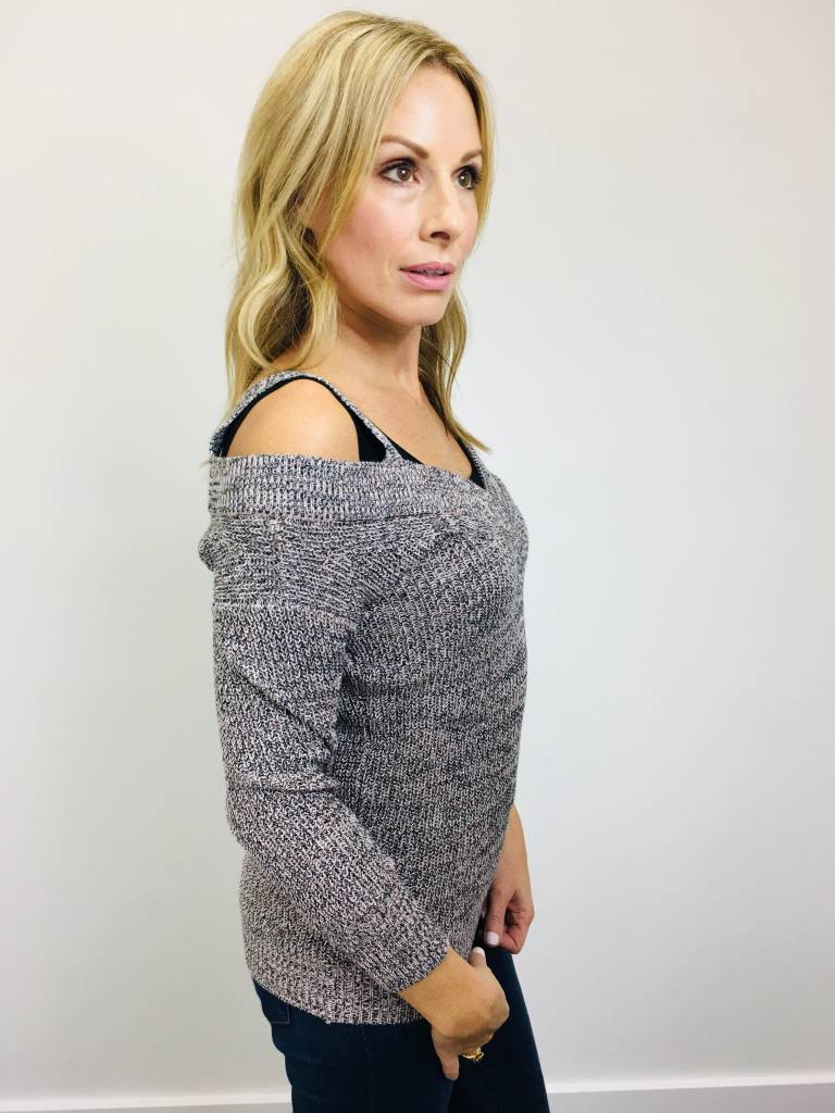 Dex Cold Shoulder Pink/Black Sweater