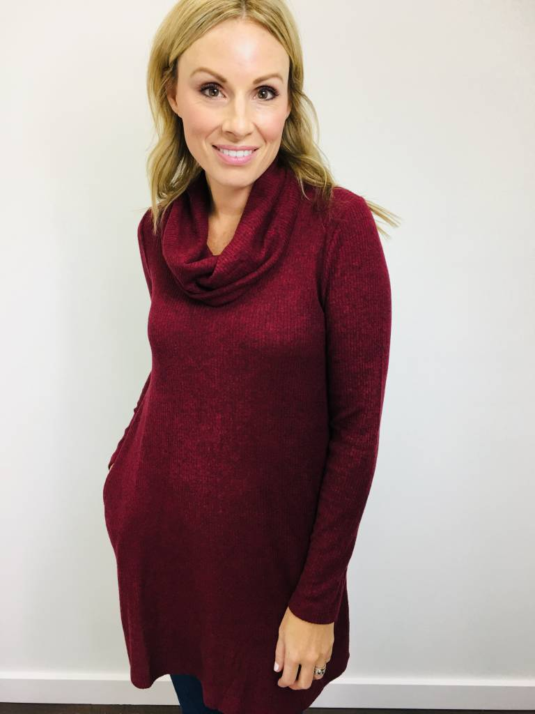 ZSupply Brushed Rib Cowl Dress in Oxblood Red