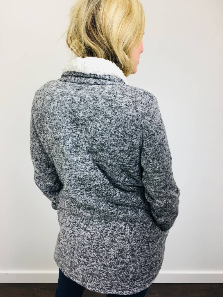 Dex Black and Storm Gray Sherpa Lined Blazer