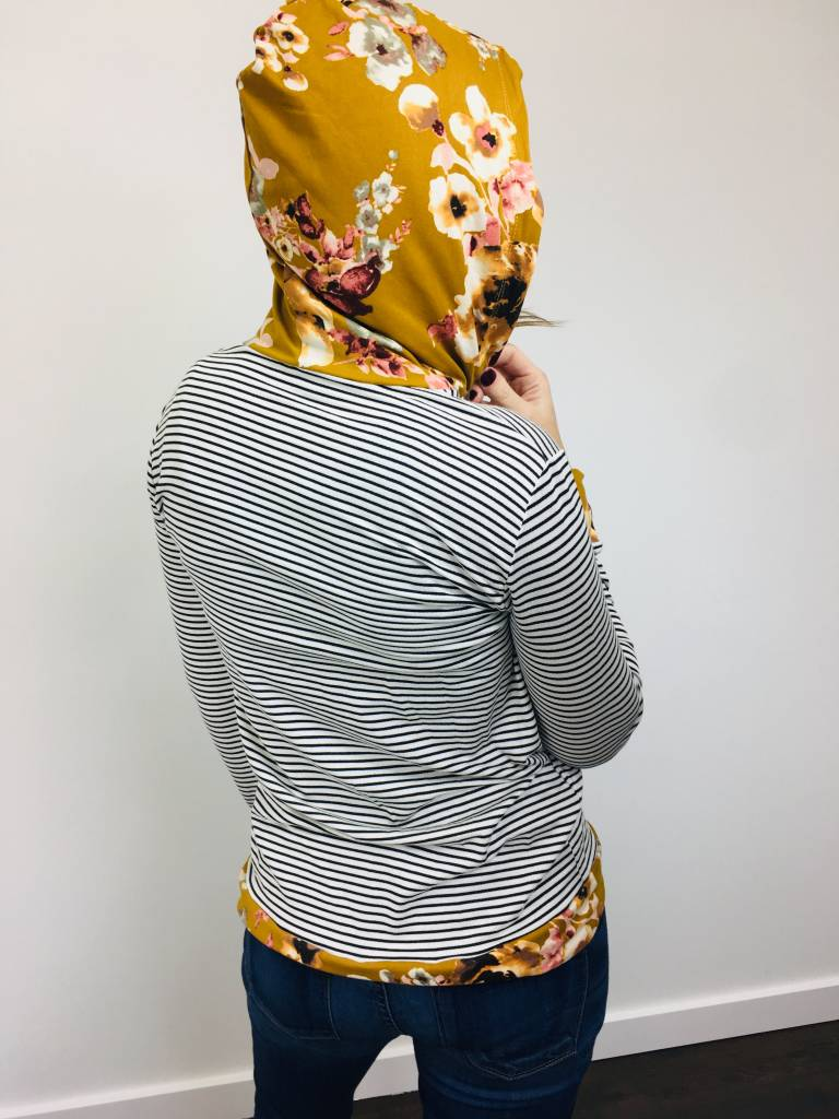 Staccato Floral Stripe Knit Hoodie
