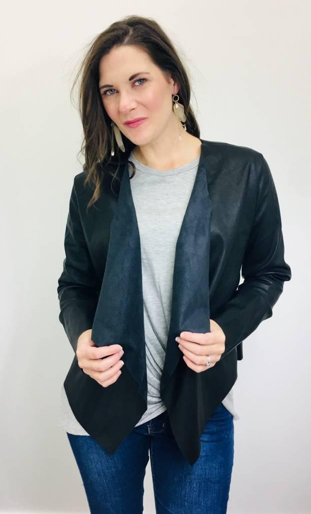 Fate Vegan Leather Drape Jacket