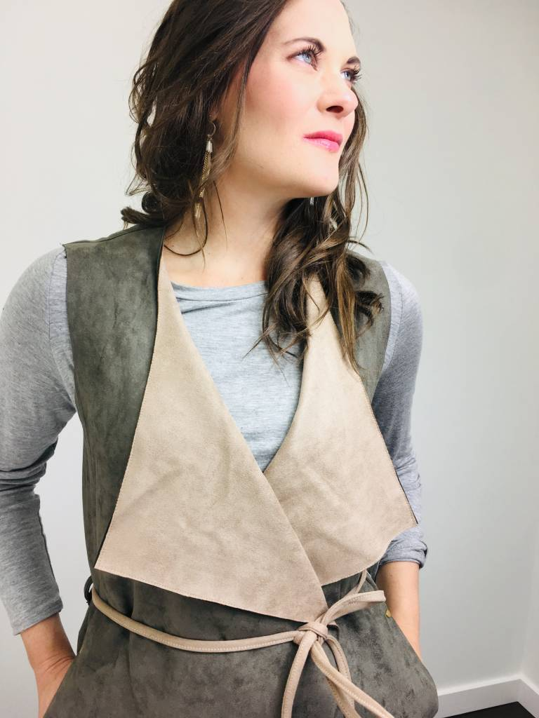 Fate Faux Suede Waist Tie Vest in Olive