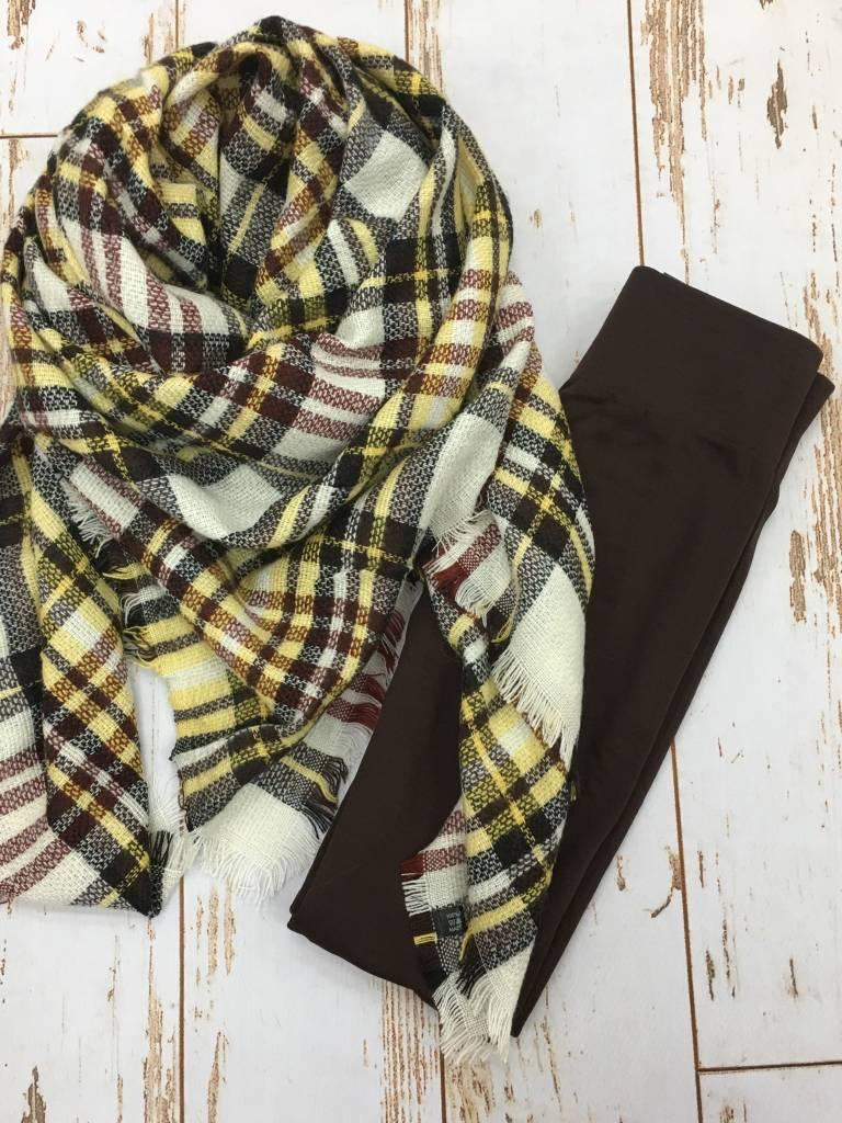 Legging + Blanket Scarf Gift Bundle Brown