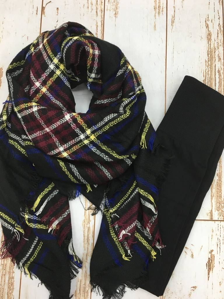 Legging + Blanket Scarf Gift Bundle Blk Legging/Multi Scarf