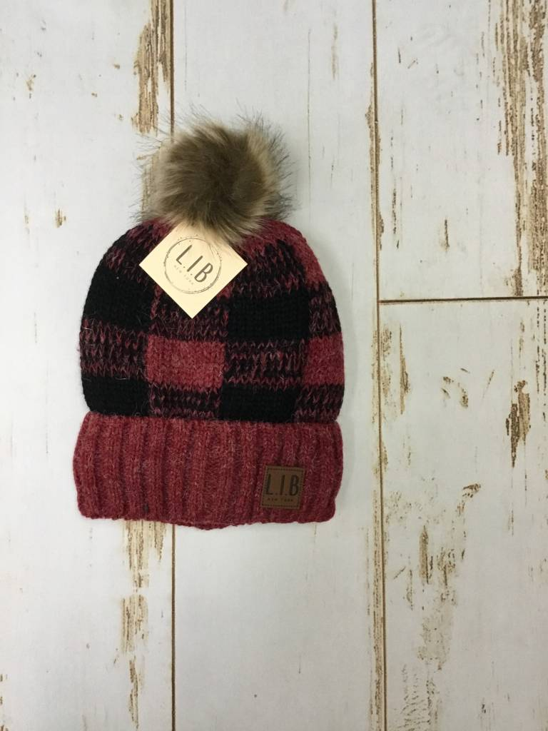 Buffalo Plaid Pom Pom Hat in Red