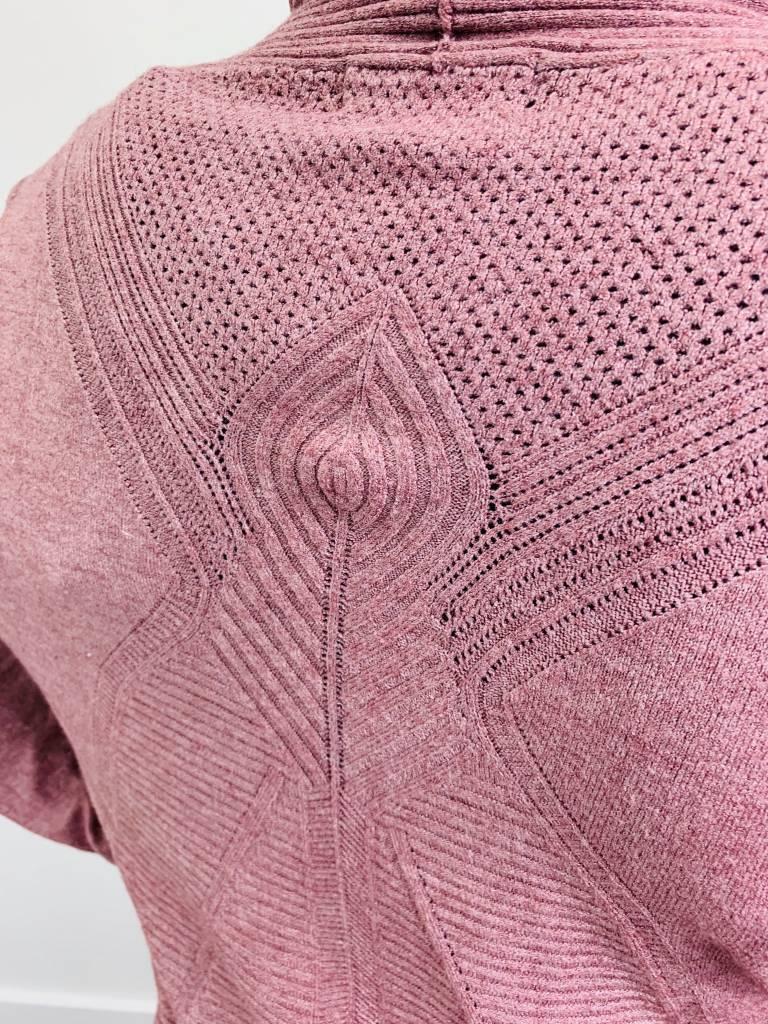 Papillon Ribbed Back Detail Cardigan in Rose