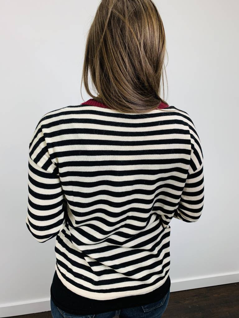 Hem & Thread Drawstring Hem Striped Sweater