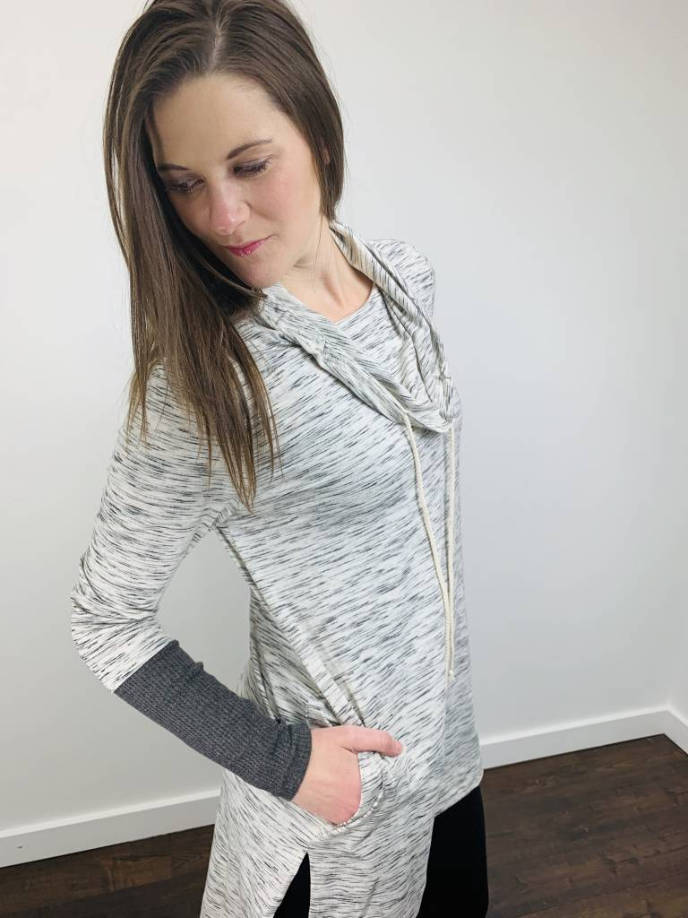 Doe & Rae Cowl Neck Tunic w/ Color Block in Heathered Gray