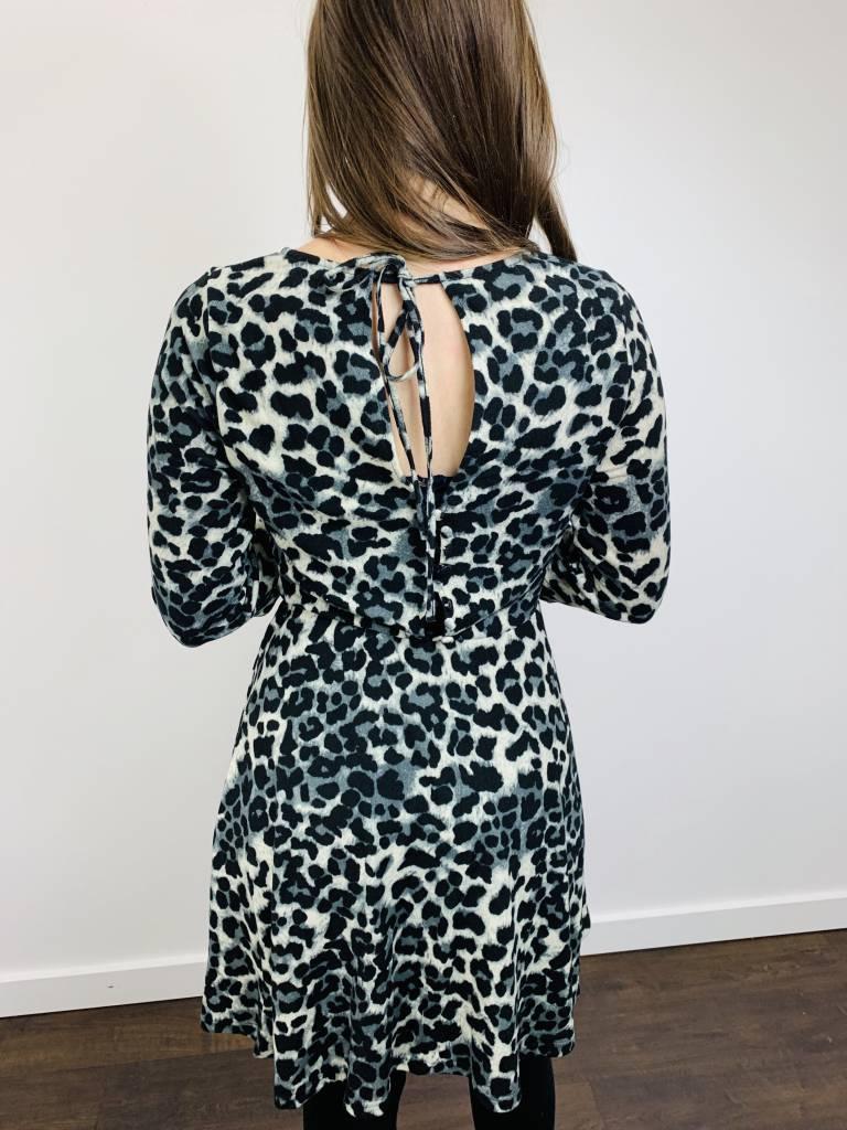 Papillon Leopard Print 3/4 Sleeve Dress