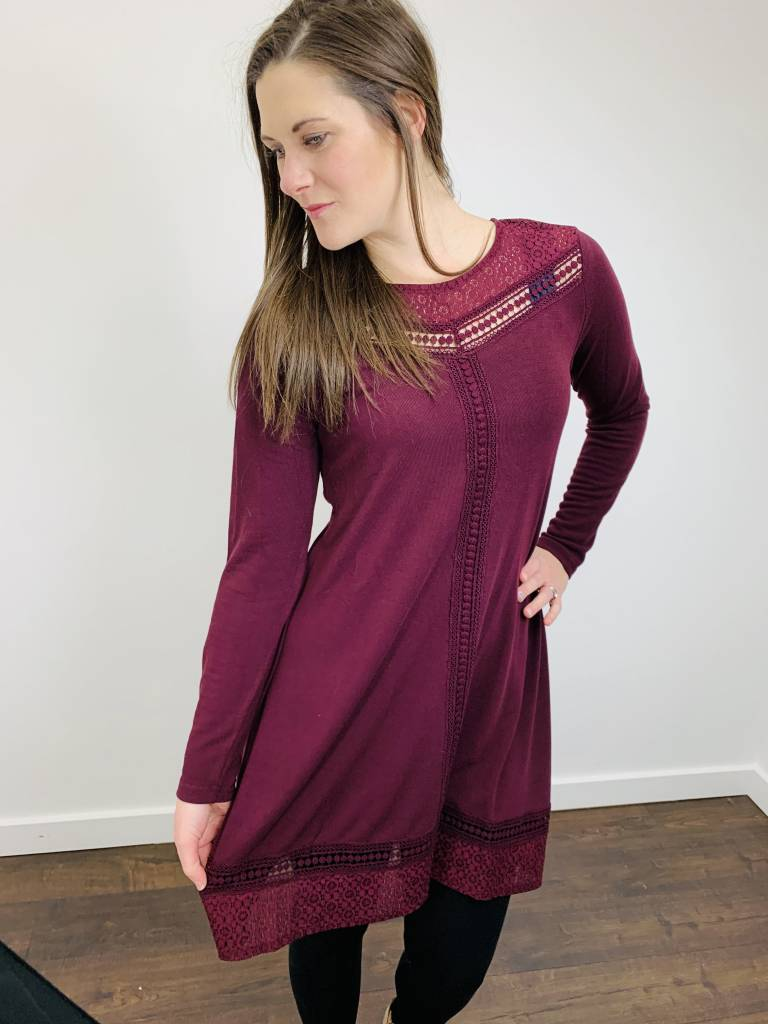 Papillon Crochet Detail Aline Dress in Wine