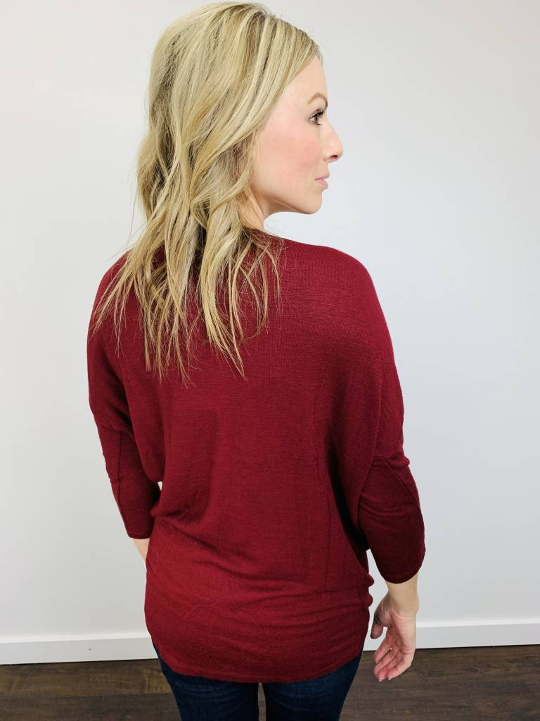 Bobi Drop Sleeve Tuck Top in Lurex Red