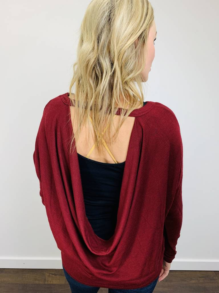 Bobi Cowl Back Space Dye Top in Red