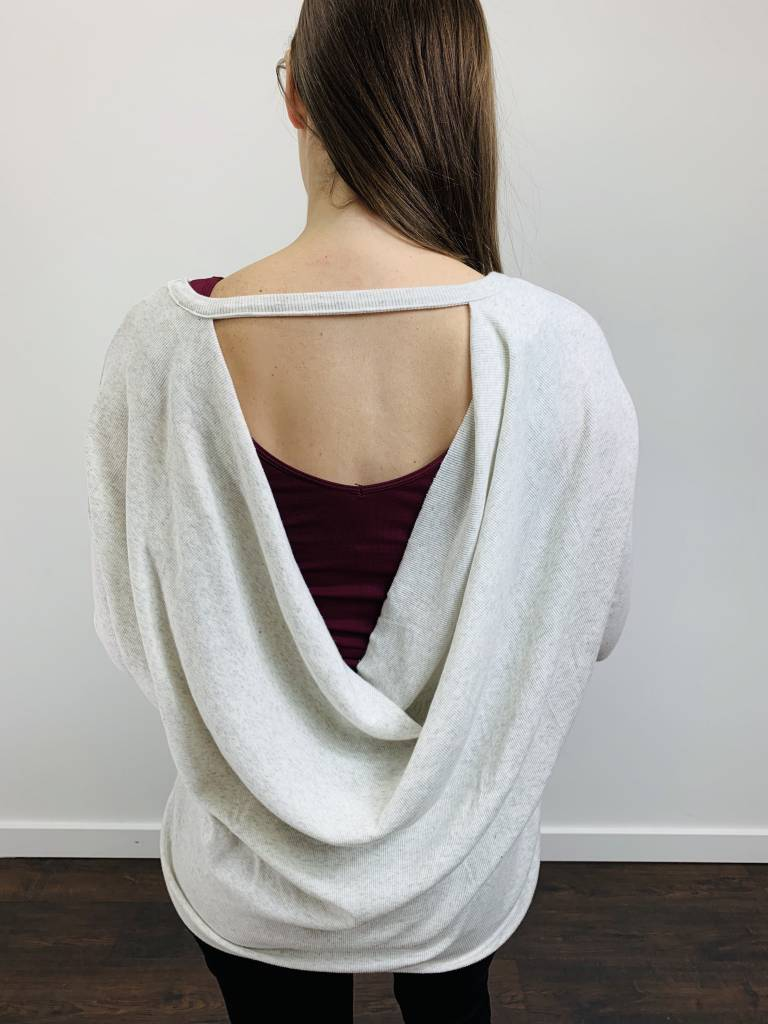 Bobi Cowl Back Ribbed Top in Heathered Ivory