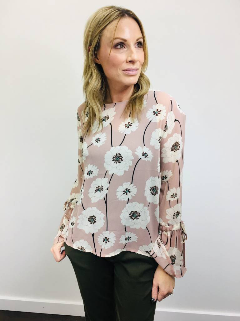 Papillon Floral Pink Blouse with Flute Sleeves