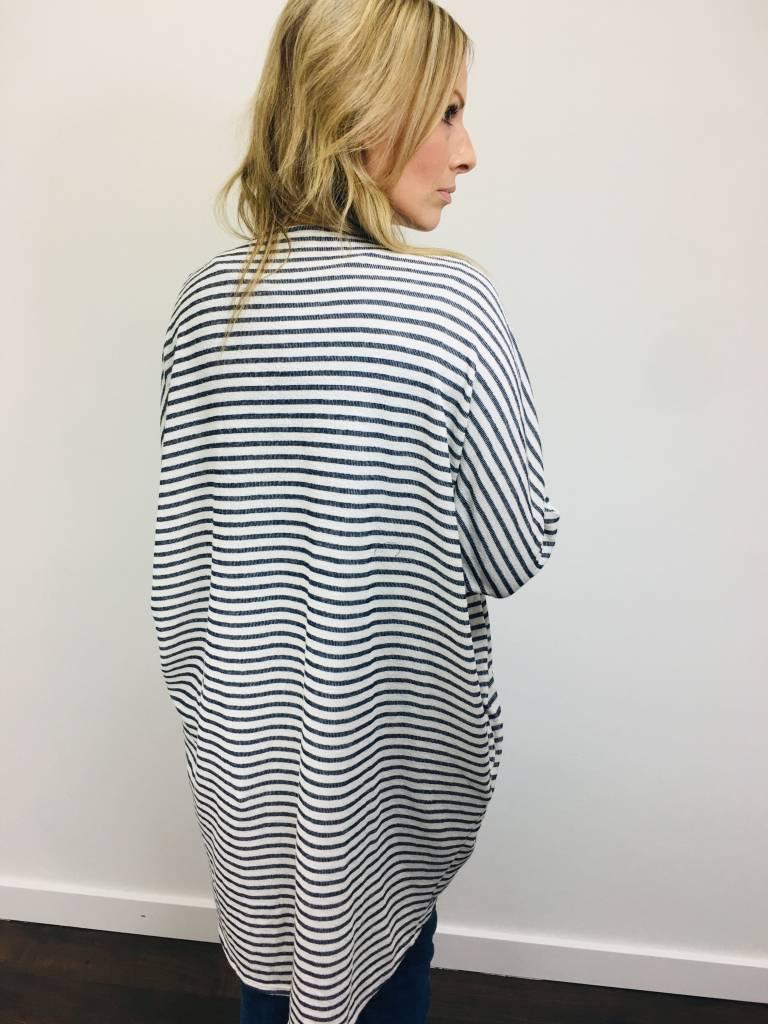 Downeast Dolman Sleeve Striped Duster