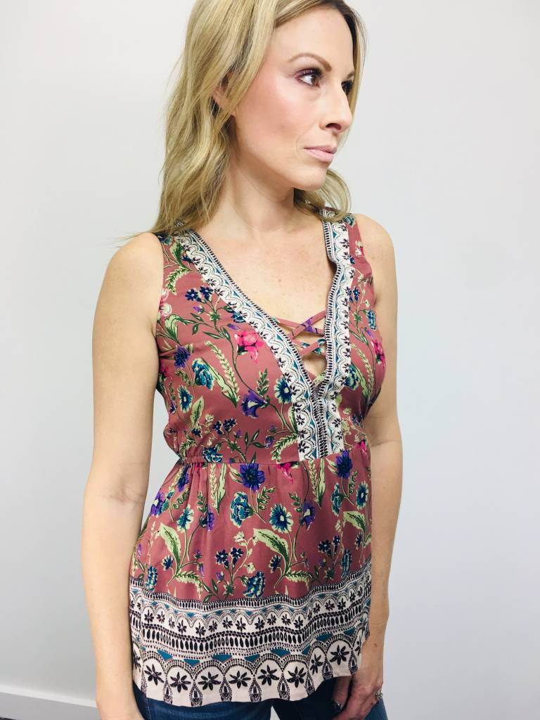 Angie Criss Cross Floral Tank