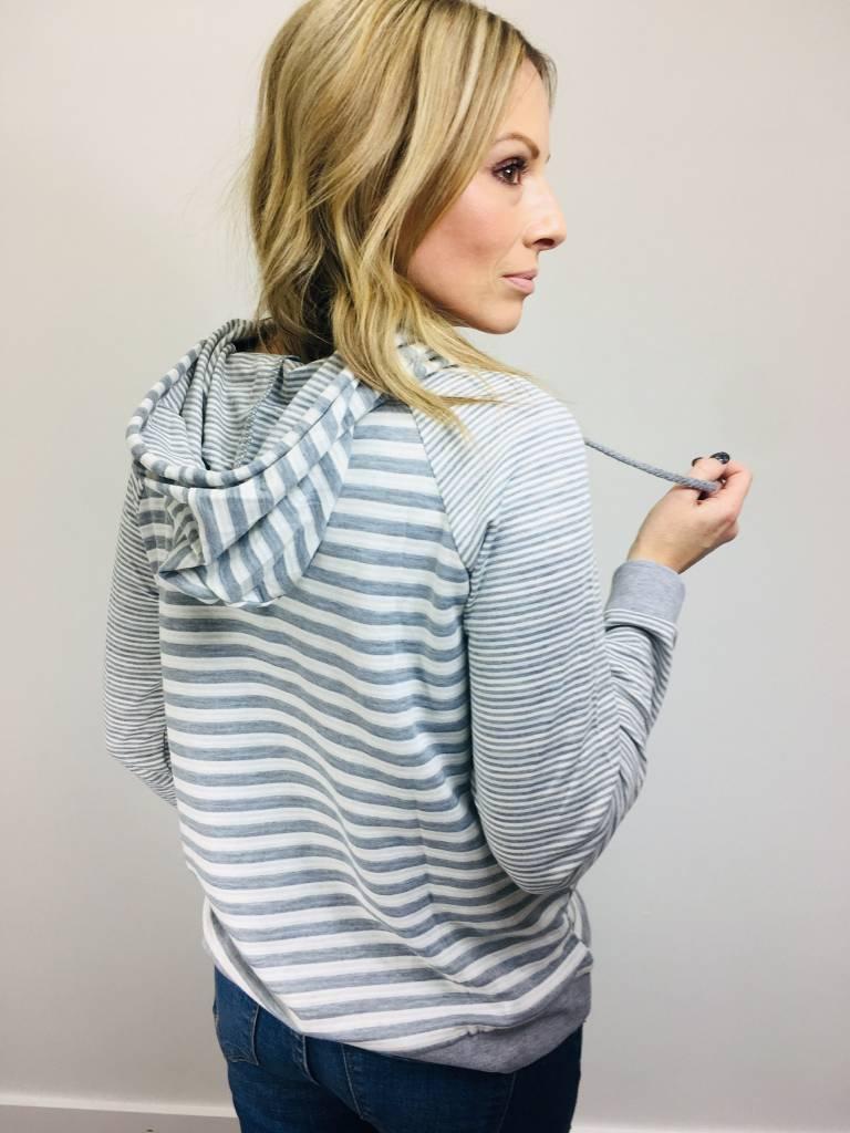 Hem & Thread Mixed Stripe Hoodie