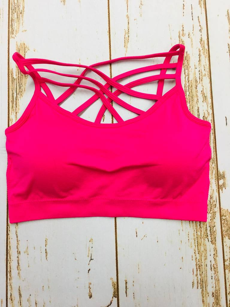 Zenana Seamless Triple Cross Bralette Hot Pink
