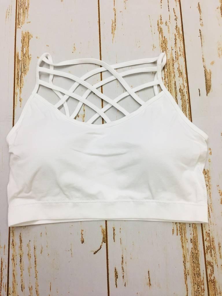 Zenana Seamless Triple Cross Bralette White