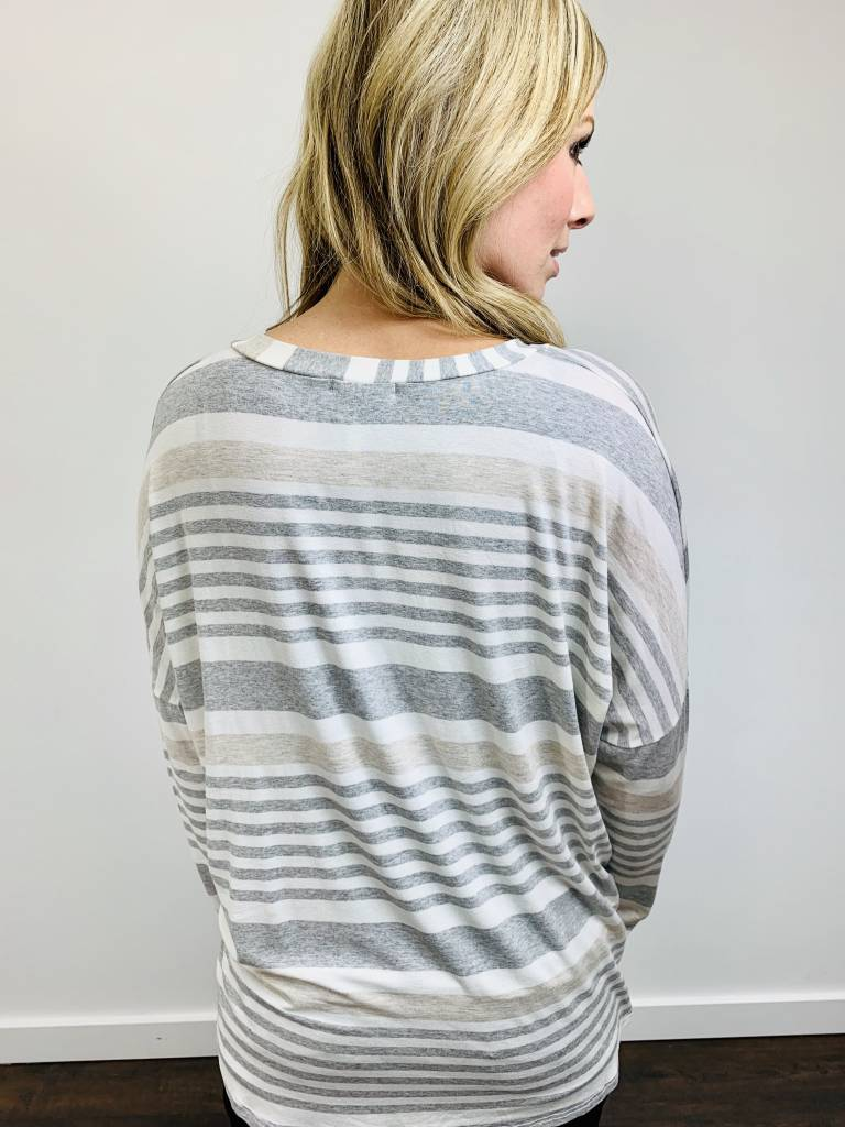 Entro Tie Front Gray and Ivory Striped Top