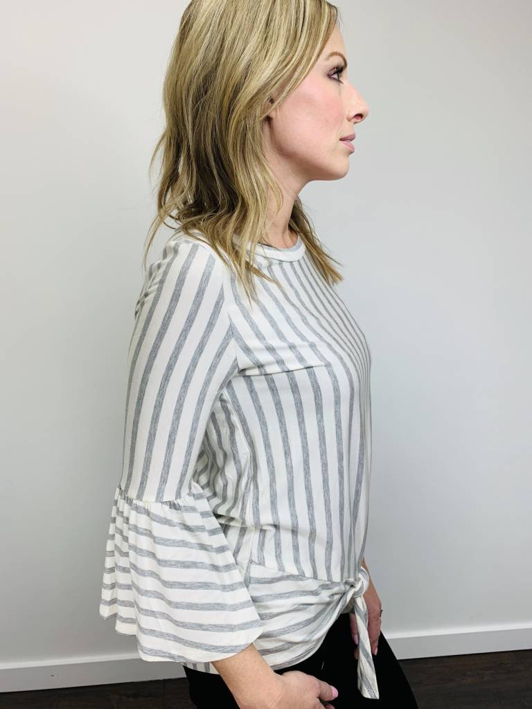 Entro Gray Striped Ruffle Sleeve Top