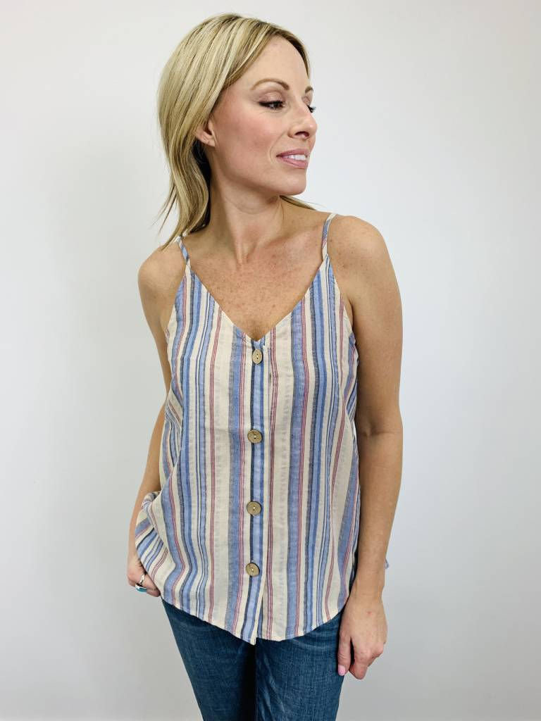 Entro Button Down Cami in Blue Stripes