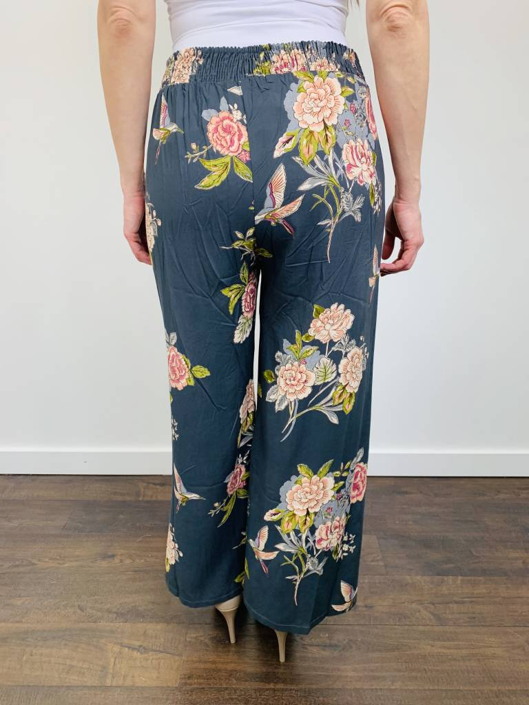 Angie Floral Wide Leg Pant with Tie