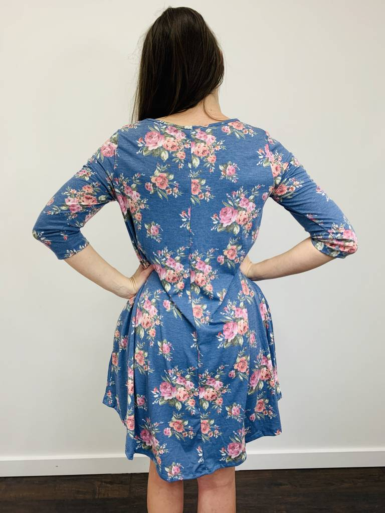 Papillon Aline Blue Floral Dress