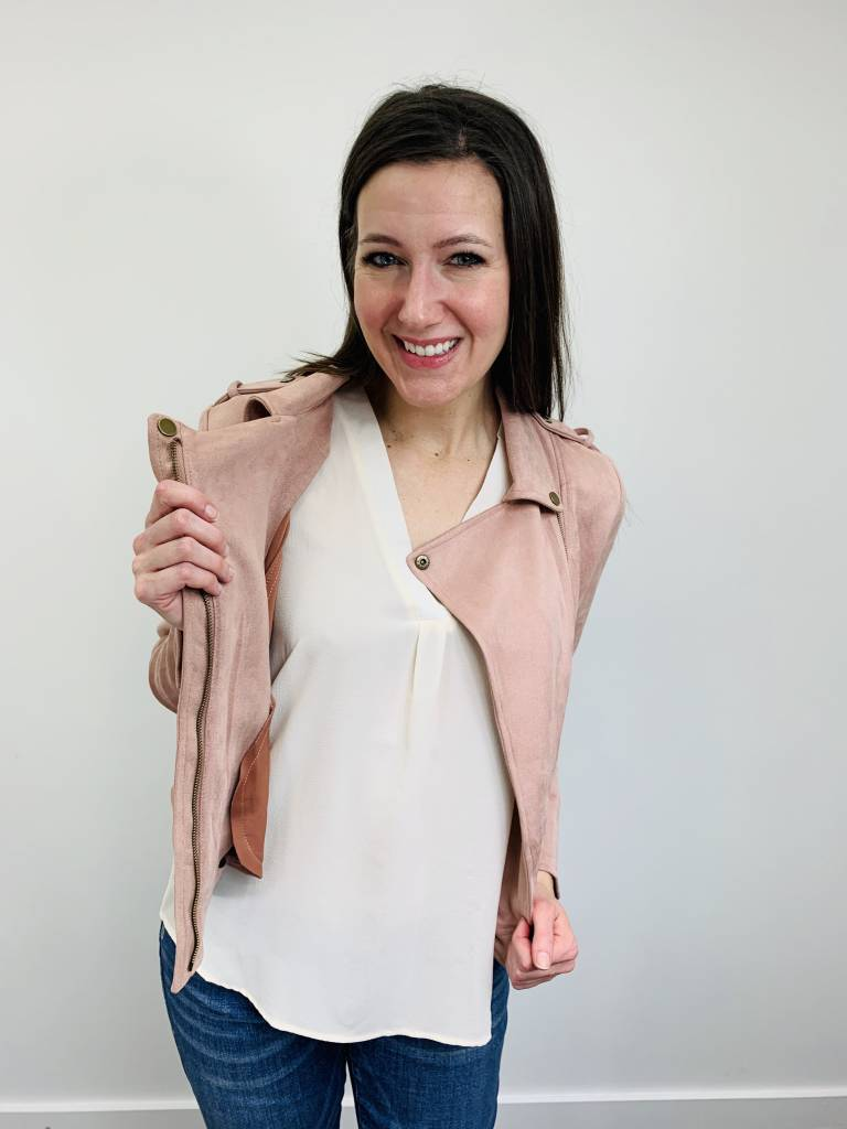 Downeast City Moto Jacket in Blush