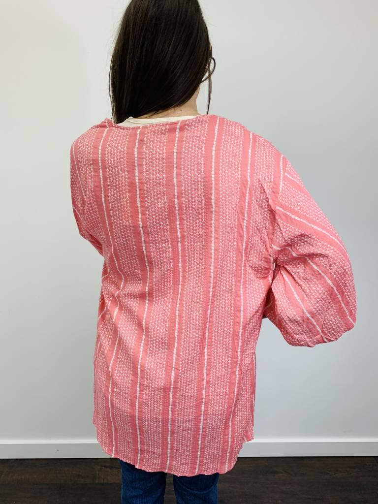 Entro Kimono w/ Front Tie in Pink and White Print
