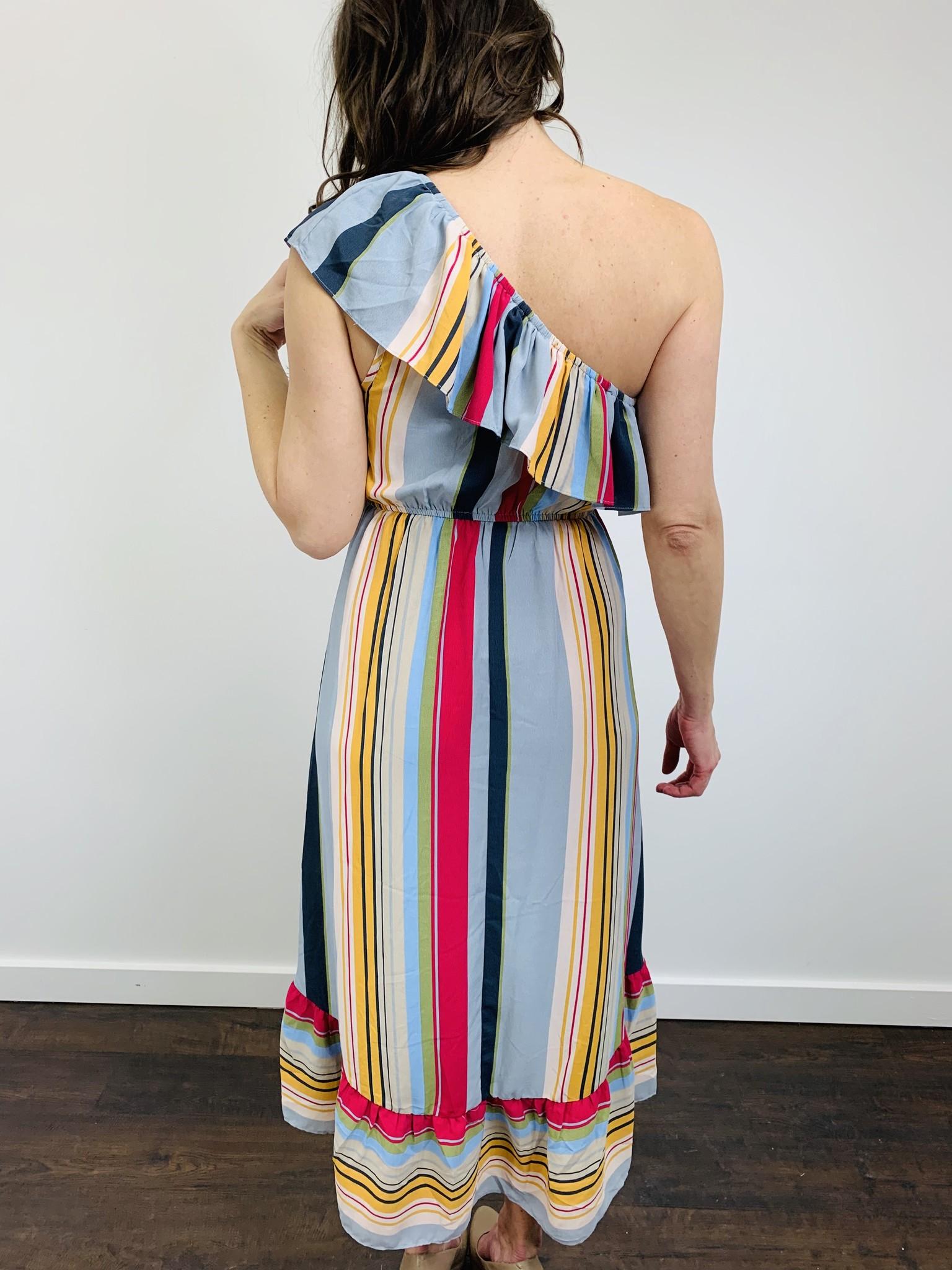 Entro Bold Striped Ruffle One Shoulder Dress