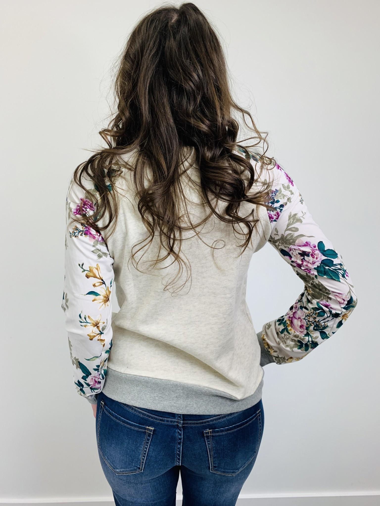 Hem & Thread Heathered Floral Print Sleeve Sweatshirt