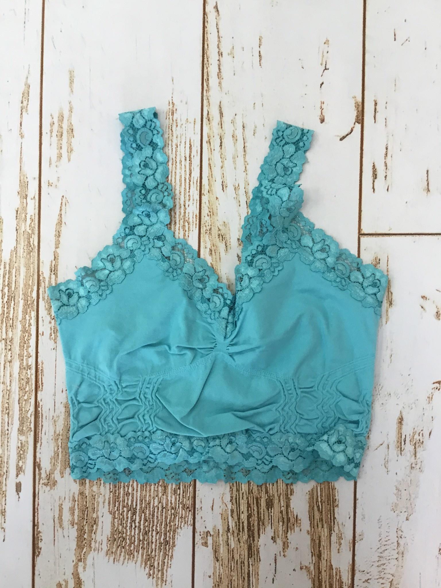 M Rena Lave Trim Bralette Aqua Blue