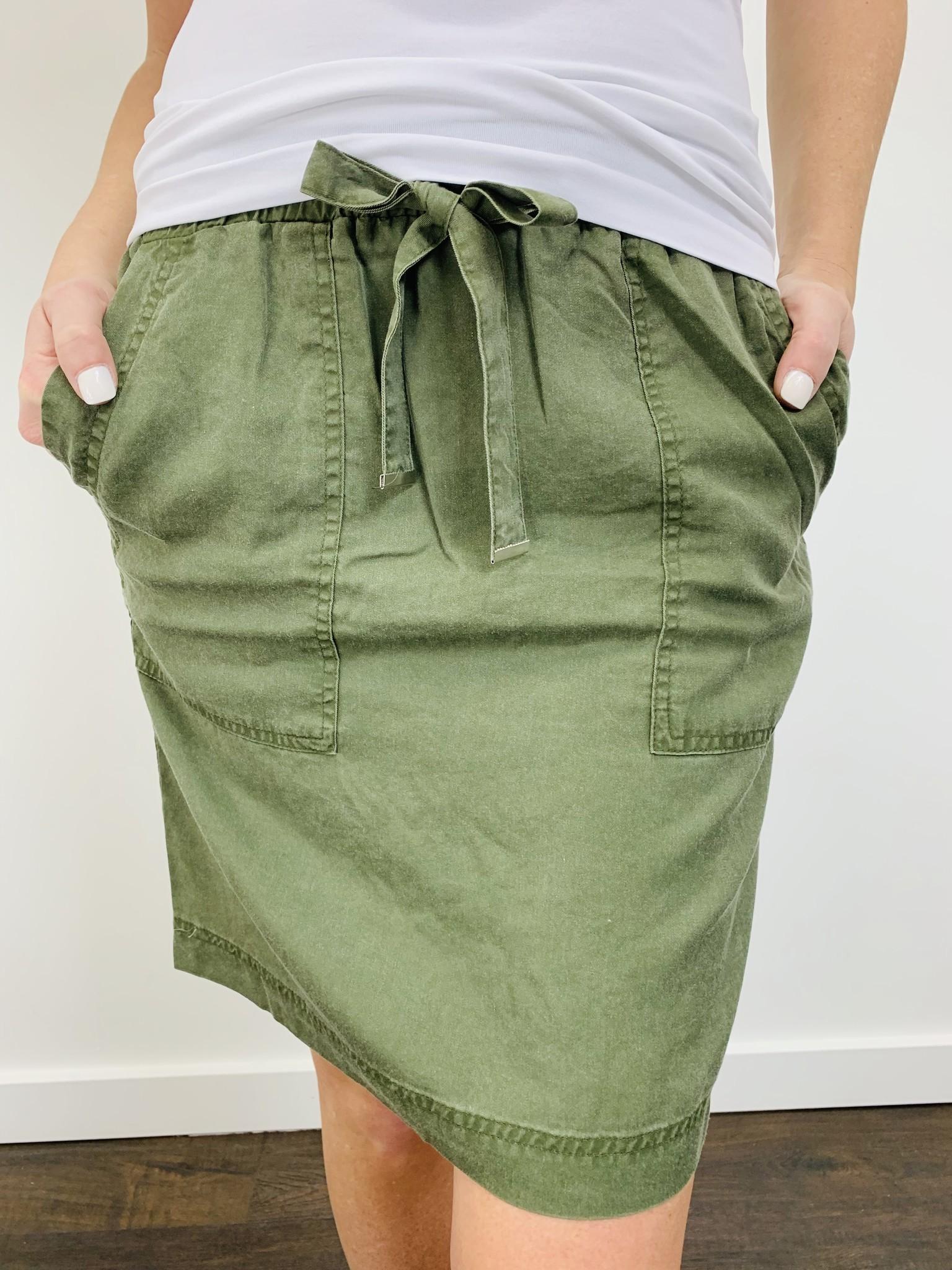 Dex Olive Drawstring Skirt