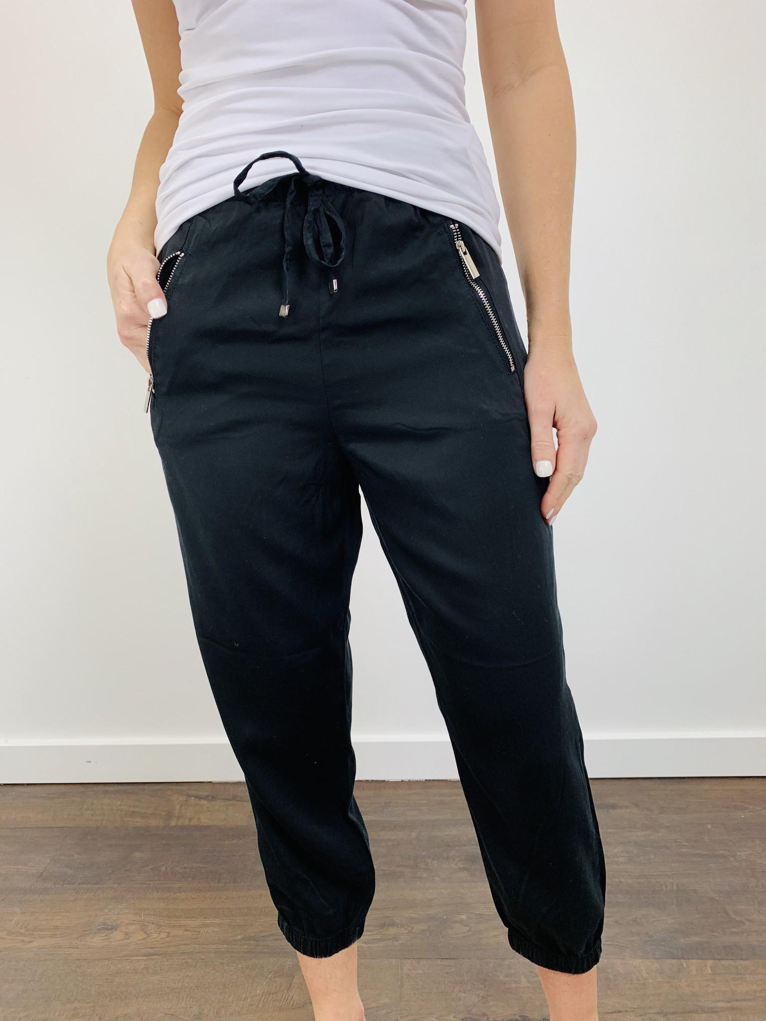 Dex Light Weight Black Jogger with Zipper Detail