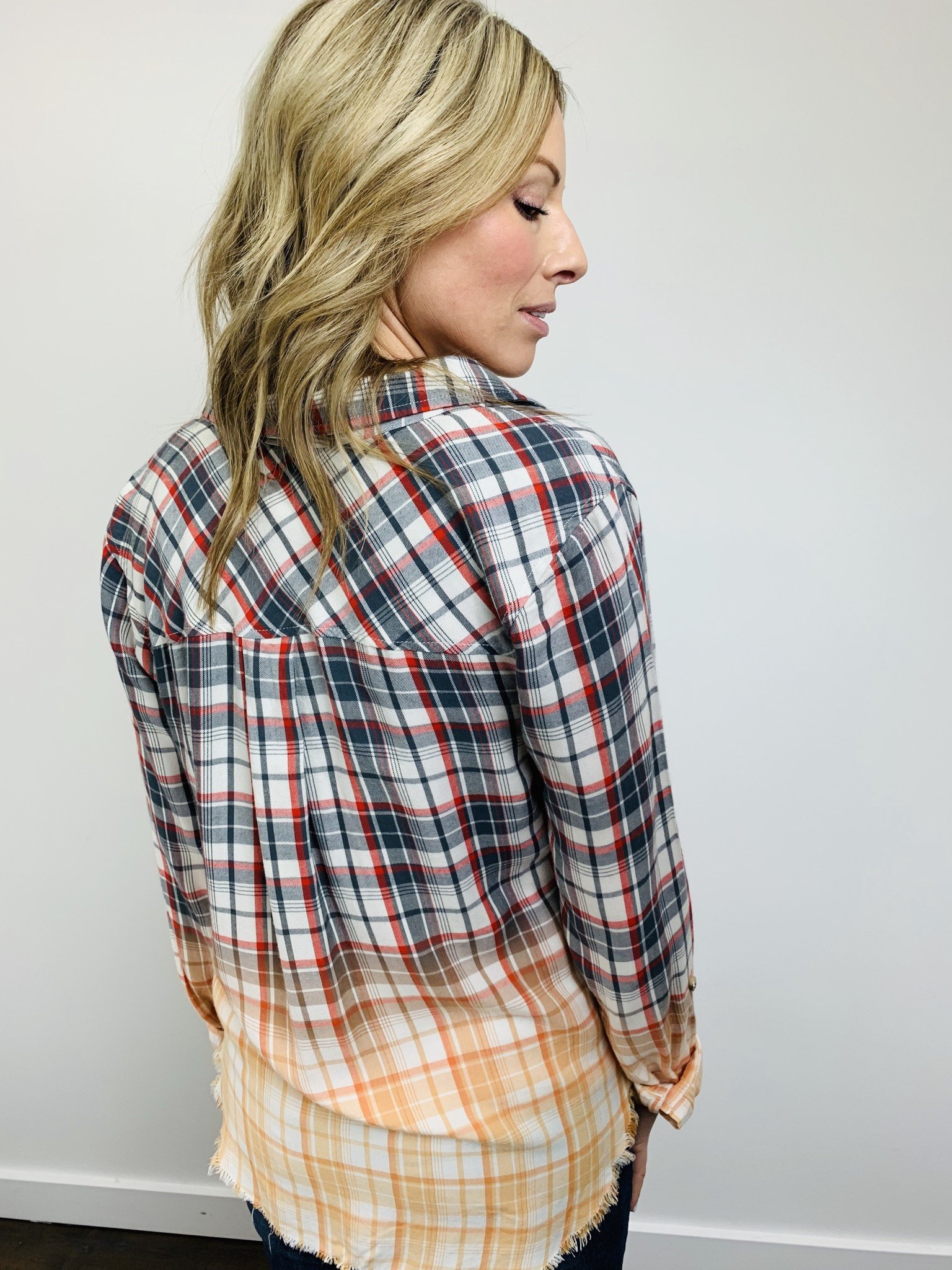 Dear John Sophia Dipped Plaid Grey