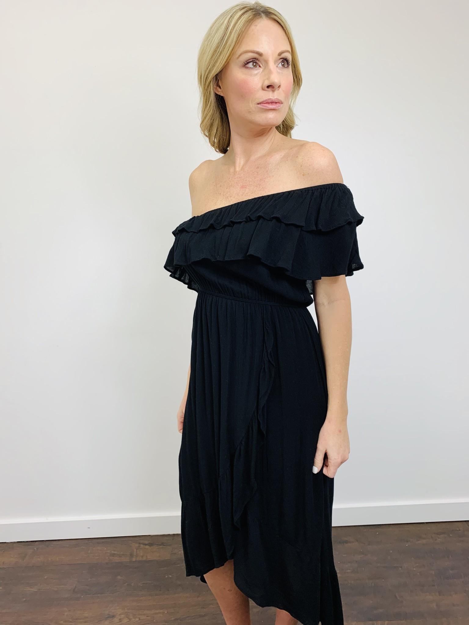 Entro Black One Shoulder Ruffle Dress