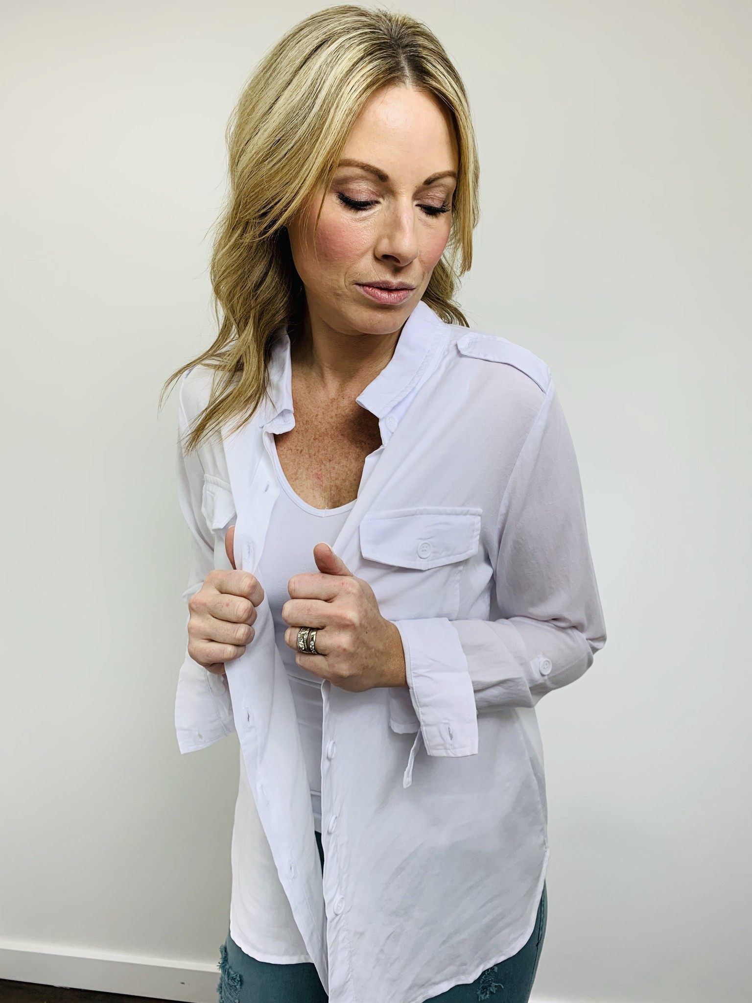 Dear John Allison Button Down Shirt White