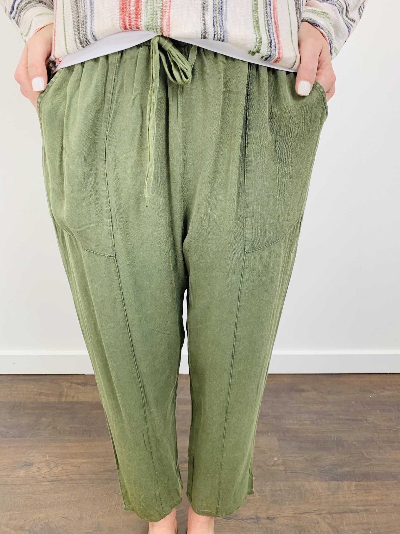 Hem & Thread Acid Wash Soft OIive Ankle Pant