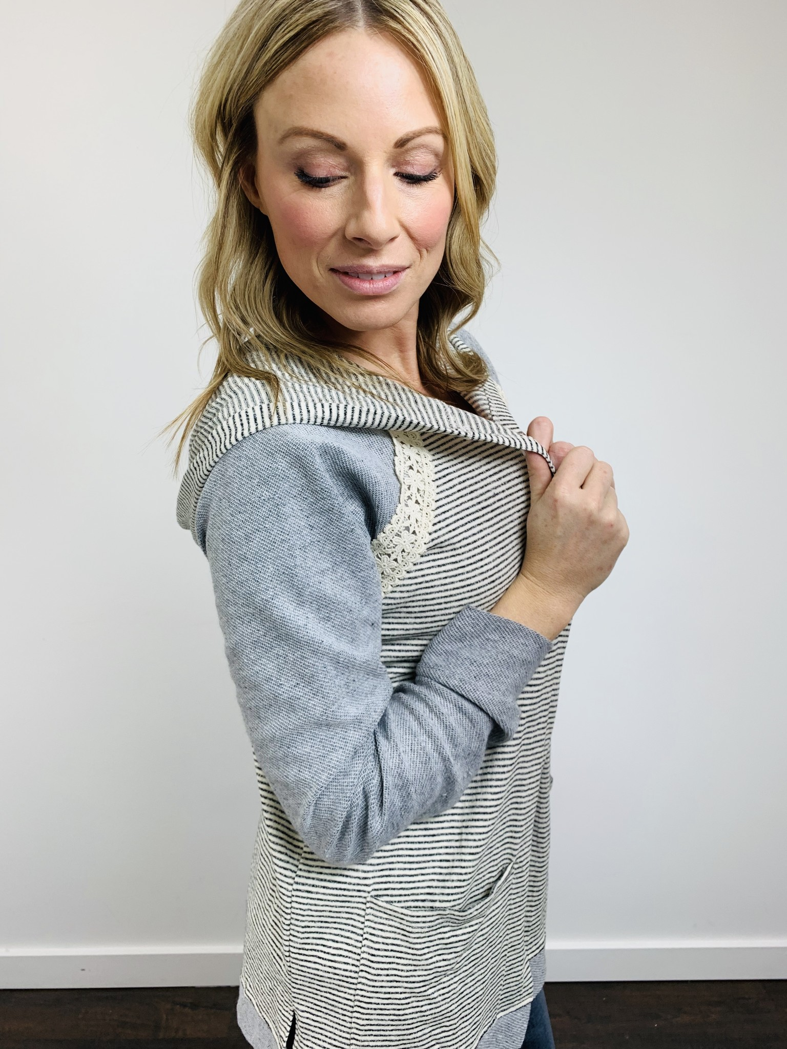 Hem & Thread Open Front Ivory and Gray Hoodie