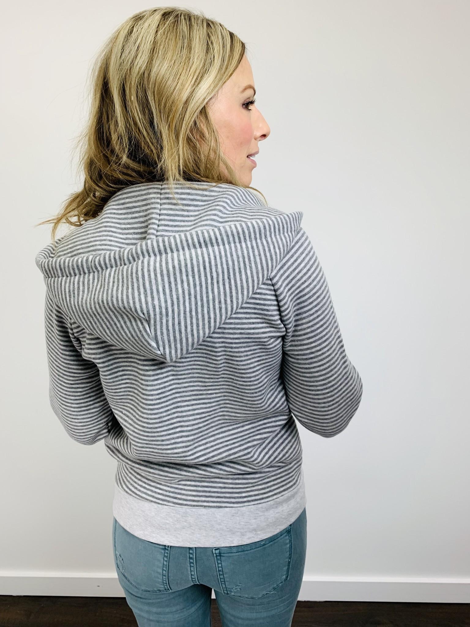 Alternative Adrian Striped Eco Fleece Zip Hoodie