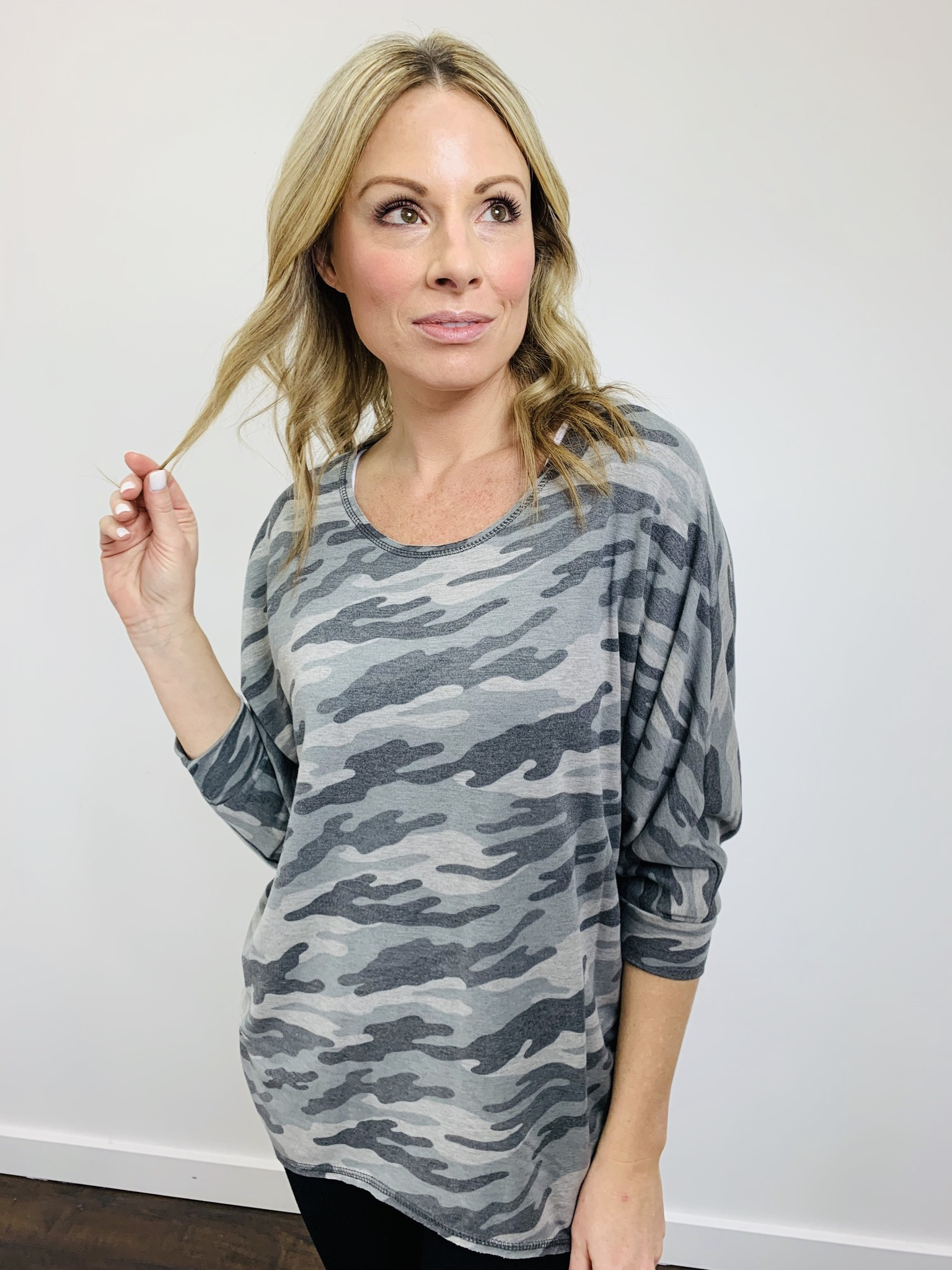 KLD French Terry Camo Print Dolman