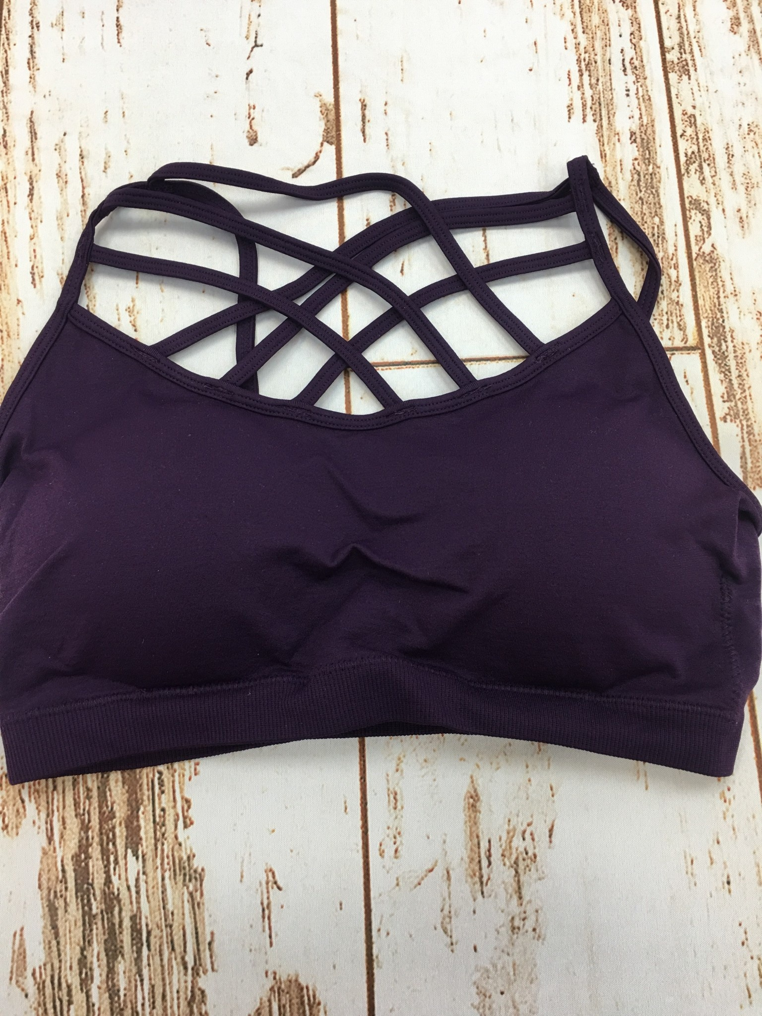 Zenana Seamless Triple Cross Bralette Dark Purple