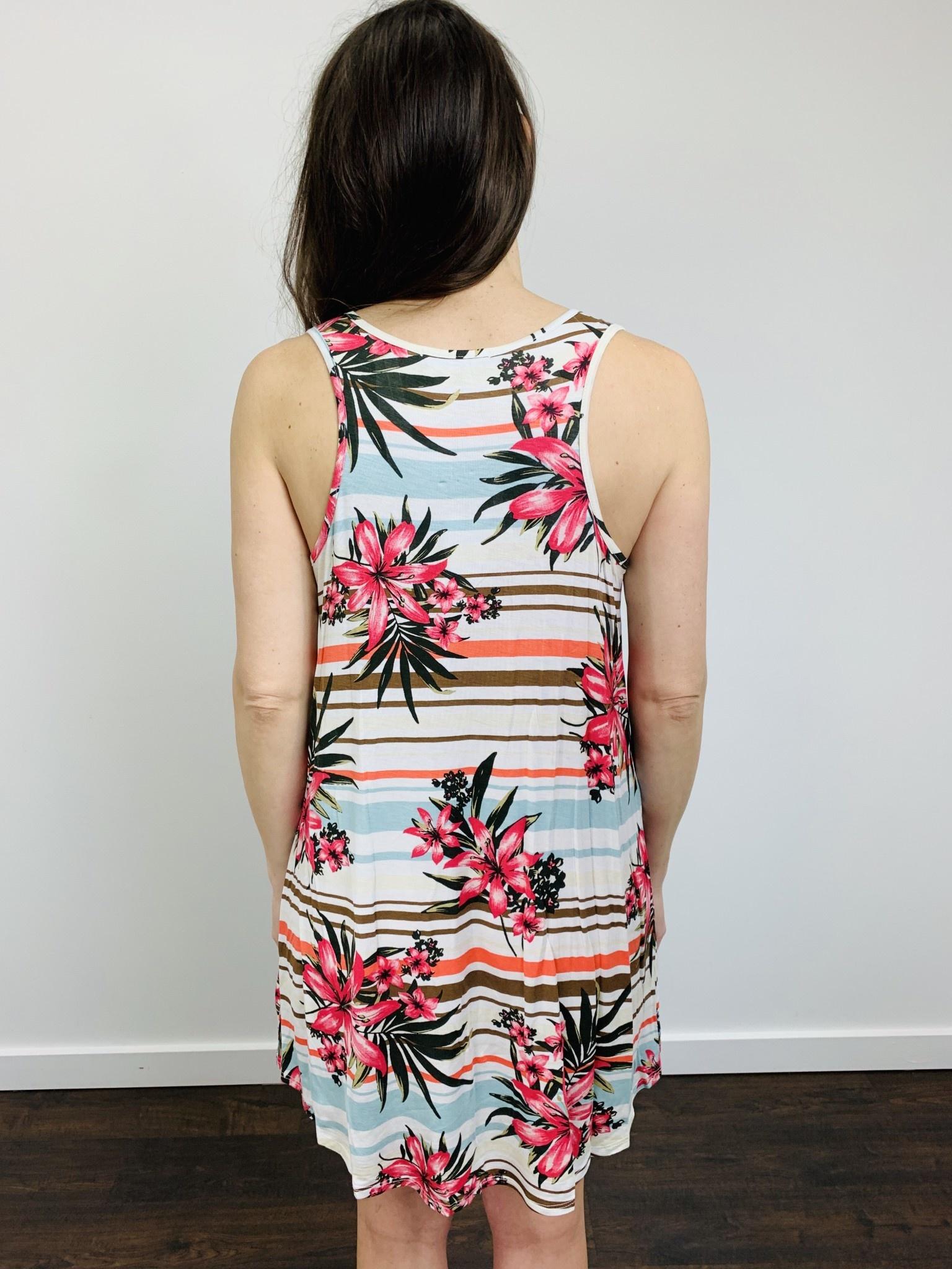 Papillon Aloha Floral w/ Stripe Dress