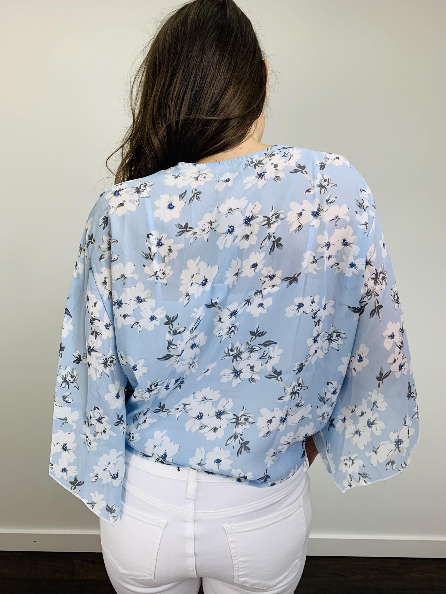 Papillon Blue Floral Tie Front Blouse