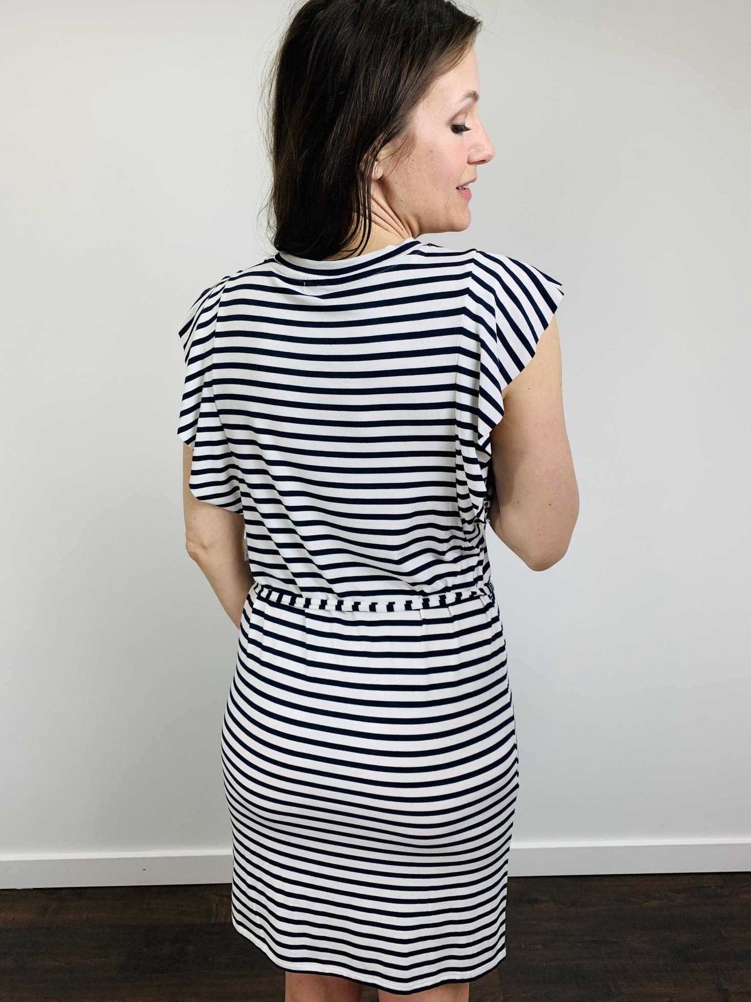 Dex Butterfly Striped Belted Dress