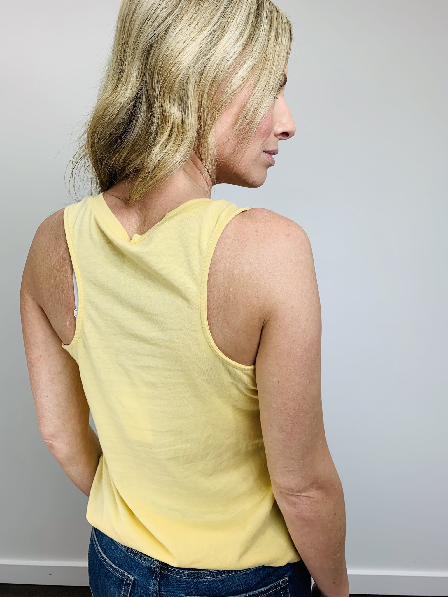 ZSupply The Pocket Racer Tank in Yellow Cream