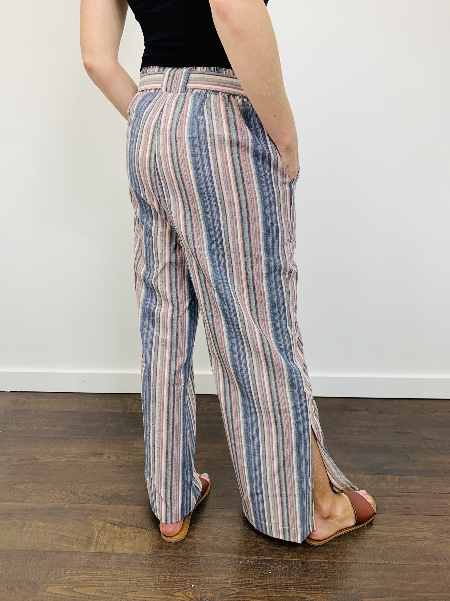 Hem & Thread Stripe Tie Waist Pants