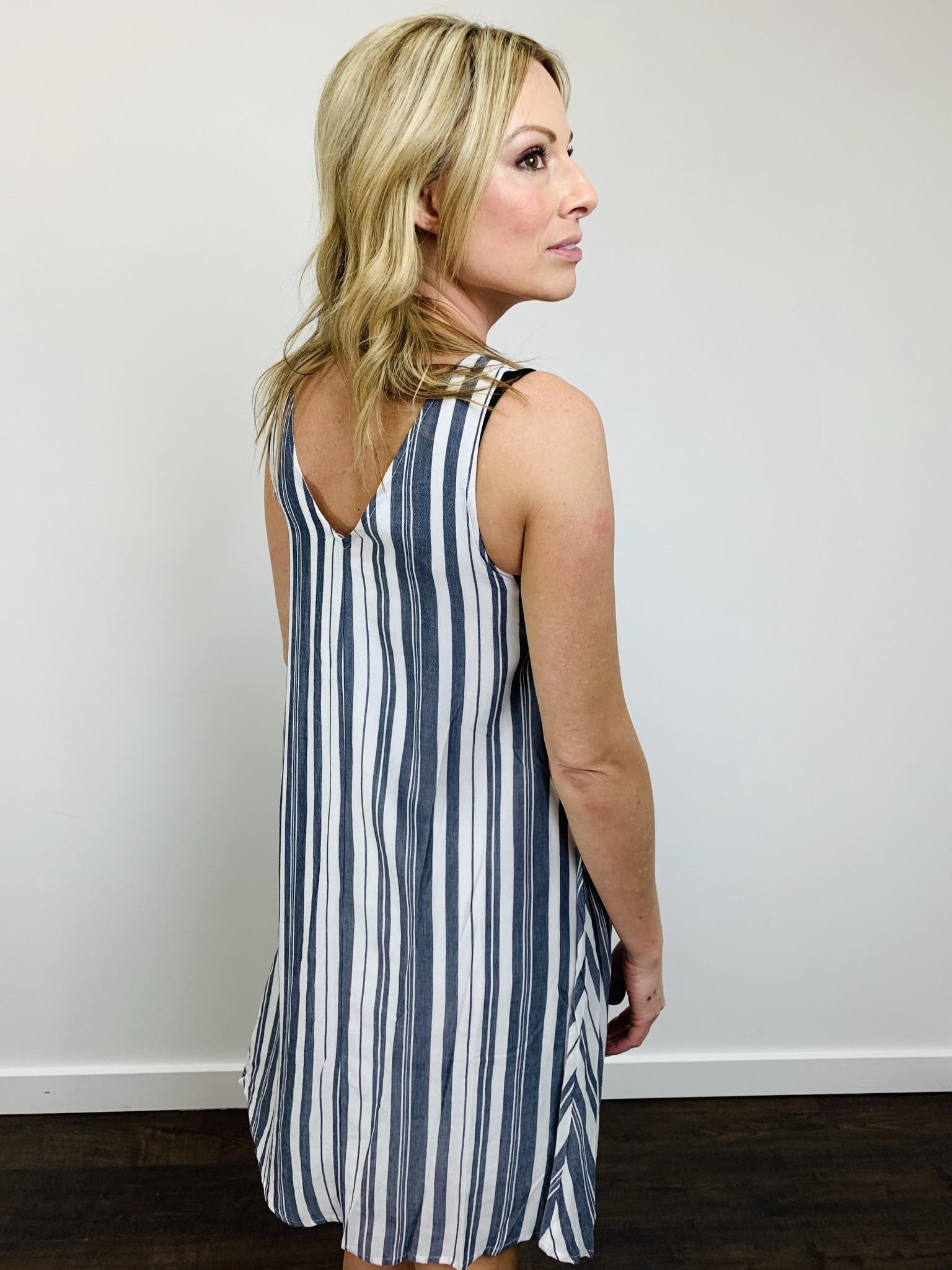 Hem & Thread Lace Up Front Dress